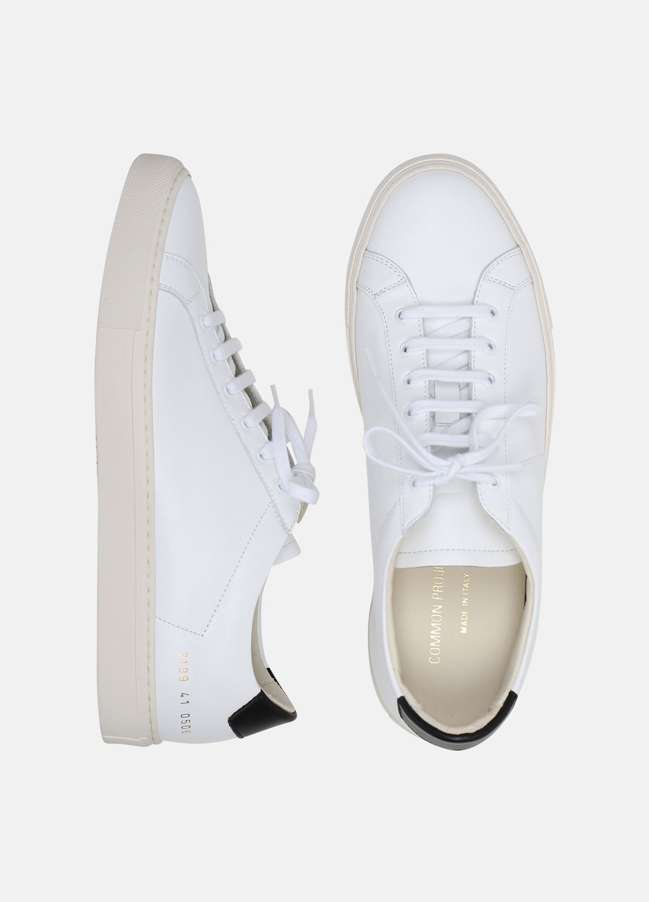 hvid retro low sneakers fra common projects