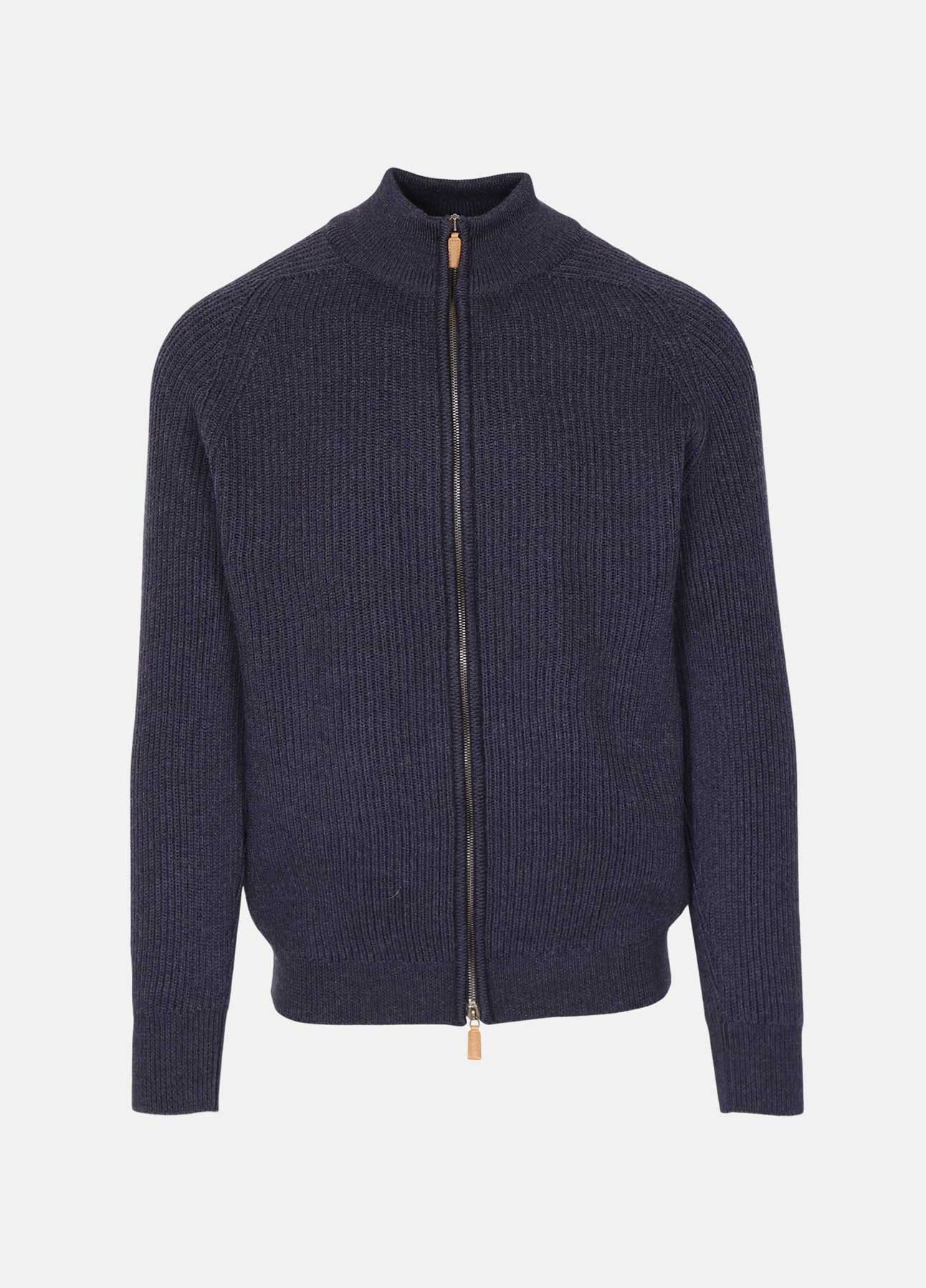 Blå Merino cardigan fra William Lockie