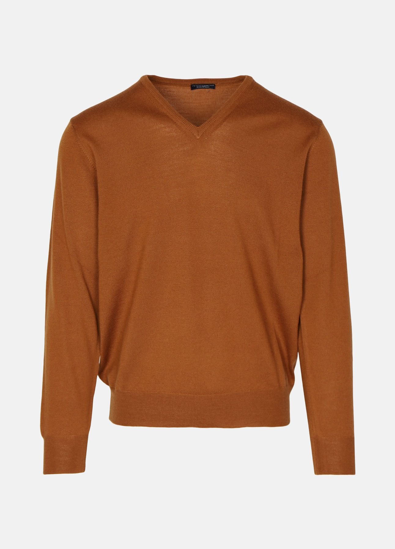 Cognac v-neck strik fra Morgano